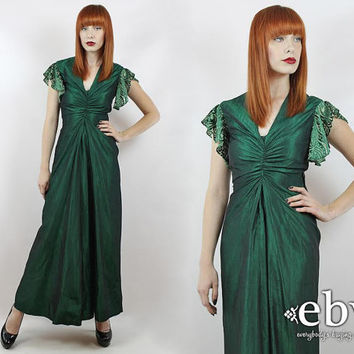 Vintage 90s Emerald Taffeta Maxi Dress XS S Prom Dress Green Maxi Dress Evening Gown Party Dress Cocktail Dress