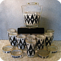 VINTAGE 1970's Amazing Astrology Zodiac Bar Serving Set, Ice Bucket Tongs Glasses and Ash Trays Rimmed in Gold