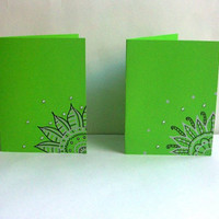 Spring Green Hand Drawn Greeting Cards -Set of Two- Envelopes included