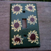 Sunflower Switch Plate by monkmama54 on Zibbet