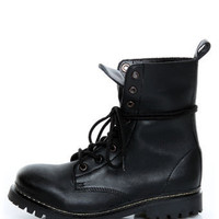 Mia Napp Black Lace-Up Combat Boots