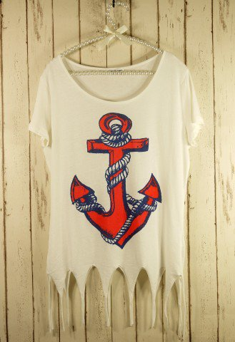 Anchor Print Shear T-shirt - Retro, Indie and Unique Fashion