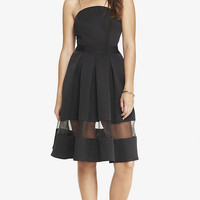 STRAPLESS ORGANZA INSET MIDI DRESS from EXPRESS
