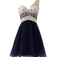 One Shoulder Homecoming Dress with Beadings Short Bridesmaid Dress