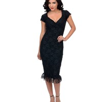 Black Lace Annabella Wiggle Dress | Unique Vintage