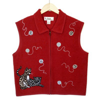 Boiled Wool Cheetah & Leopard Kitty Tacky Ugly Cat Lady Vest