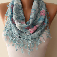 Light Blue Scarf with Same Color Trim Edge - Flowered Fabric - Summer Colors