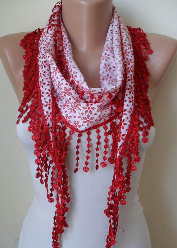 ON SALE - Perforated Fabric - White and Red Cotton Scarf with Red Trim Edge