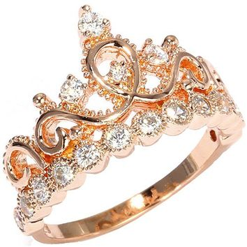 Sterling Silver Crown Ring (Rose Gold Plated)