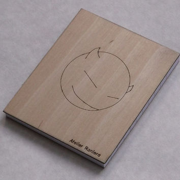 Small Ruled Notebook with Devil on Wooden Cover, Gift Idea, Wood, Lasercut