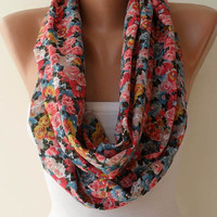 Infinty - Loop Scarf - Colorful Flowered Fabric