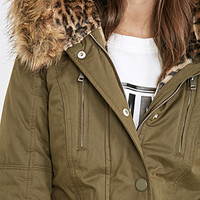 Faux Fur-Lined Hooded Parka