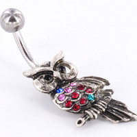 Pretty Bright Owl Navel Ring
