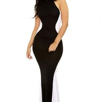 Black White Swerve Halter Maxi Evening Dress - OASAP.com