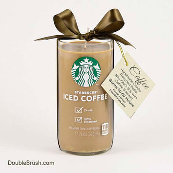 Drink Coffee Starbucks Iced Coffee Candle Cold Drink Java Coffee Cafe Cold Coffee Gift Mocha Coffee Vanilla Recycled Candle Glass Bottle