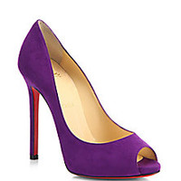Christian Louboutin - Flo Suede Peep-Toe Pumps - Saks Fifth Avenue Mobile