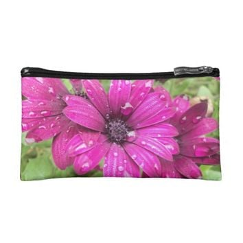 Raindrops on Purple Daisy Small Cosmetic Bag