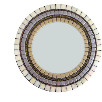 Large Round Mosaic Mirror -- Custom Made -- Neutral Home Decor in Beige, Gray, Tan