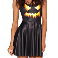 Summer Pleated Knee-length Digital Print Jack O Lantern Reversible Skater Dress