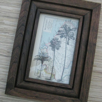 Reclaimed Wood FRAME, vintage palm tree print, upcycled wall decor