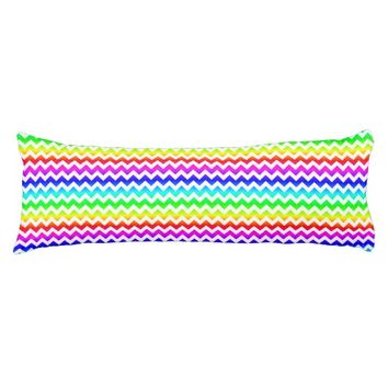 Rainbow White Chevron Body Pillow