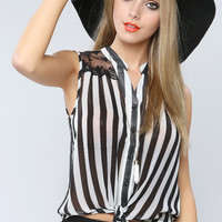 Lace Point Stripe Top