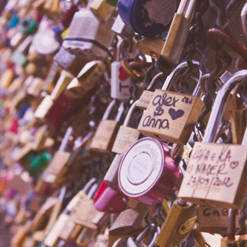 "Paris photography, travel photography, europe, france, love, pink, gold - ""Paris Love Locks"""