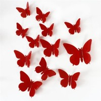 Fashionwu 12 Pcs 3D DIY Wall Sticker Stickers Butterfly Home Decor Room Decoration Red B