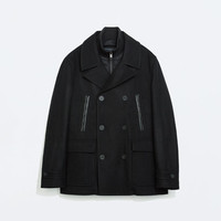 Double breasted three quarter length coat