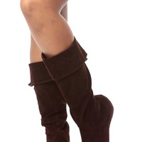 Brown Faux Suede Fold Over Calf Length Boots @ Cicihot Boots Catalog:women's winter boots,leather thigh high boots,black platform knee high boots,over the knee boots,Go Go boots,cowgirl boots,gladiator boots,womens dress boots,skirt boots.
