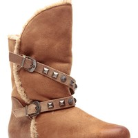 Tan Faux Suede Studded Ankle Boots @ Cicihot Boots Catalog:women's winter boots,leather thigh high boots,black platform knee high boots,over the knee boots,Go Go boots,cowgirl boots,gladiator boots,womens dress boots,skirt boots.