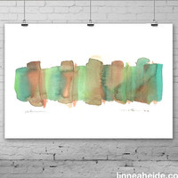Abstract Watercolor Painting - original contemporary fine art - green brown - ombre gradient - fall autumn