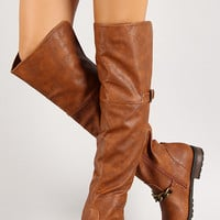 Chain Ankle Strap Thigh High Riding Boot