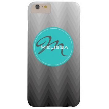 Chevron pattern turquoise monogram iPhone 6+ case