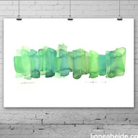 Abstract Watercolor Painting - original contemporary fine art - green - ombre gradient - fall autumn