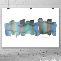 Abstract Watercolor Painting - original contemporary fine art - black teal blue - ombre gradient