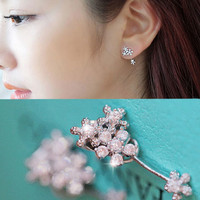 Flower Bush Rhinestone Ear Cuffs