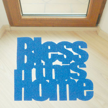 "Design door mat ""Bless this home"". Personalized rug."