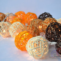 Modern Lighting Rattan Balls String Light Orange Summer Tone for Home Decoration 20 Balls/Set