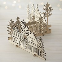 3-Piece Laser-Cut Village.