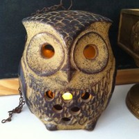 "Vintage Ceramic 6"" Pottery Owl Hanging Tealight Luminary Candle Holder 2 Sided"