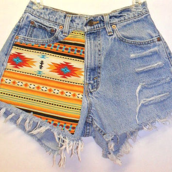 Levis  High Waisted Denim Shorts --Southwestern Print  --Waist  28 inches