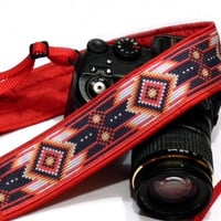 Native American Camera Strap, Inspired. Tribal Camera Strap, Southwestern, Black Red Camera Strap, Camera  Accessories