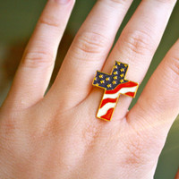 American flag cross funky ring