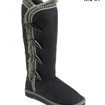 Aeropostale Toggle Sherpa Boot - Black,