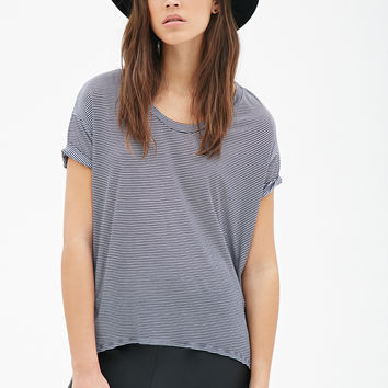 FOREVER 21 Striped Boxy Tee Navy/Grey