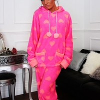 Curl Up Pink Supersoft Heart Print Lounge Set | Pink Boutique