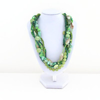 Green beaded statement necklace , semi precious gemstone one of a kind chunky necklace , lime jade seed beads chalk bowenite , uk seller