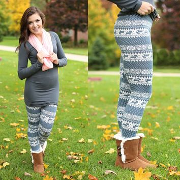White Christmas Patterned Legging