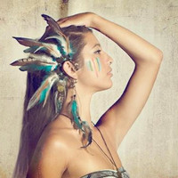 lucid dreams... amazonite and onyx feather ear cuff